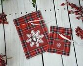 Set of 2 tartan gift bags with vintage image, plaid gift bags, royal stewart, scotish christmas, gift wrap