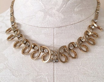 60's Vintage Gold Rhinestone Celestial Fire Necklace