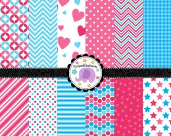50% OFF SALE Pink and Blue Digital Paper Pack, Blue and Pink Digital Scrapbook Paper, Digital Backgrounds, Instant Download Commercial Use