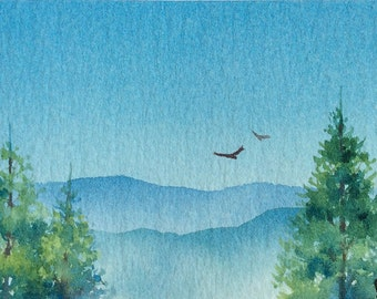 ACEO Original watercolor painting - Higher and higher