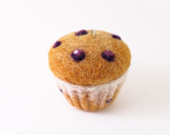 Needle Felted Ornament - Blueberry Muffin