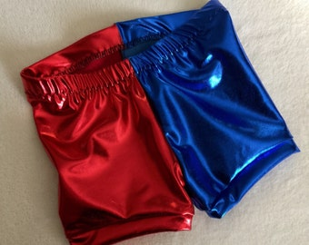 Girls Harley Quinn Shorts baby toddler costume 6 12 18 24 month 2T 3T 4T 5T 5 6 7 8 9 10 12 14 Suicide Squad Red and Blue Gymnastics gym