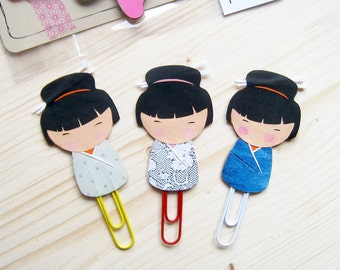 Kokeshi Dolls Planner Clip, Kokeshi Dolls Paper Clip, Planner Accessories, Stationery, Paperclips, Page Marker, Kokeshi Dolls RANDOM COLOUR