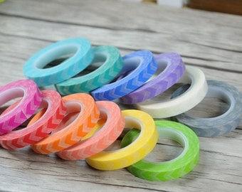 Chevron Washi Tape - Candy Colored Chevron Tape - Kawaii Washi Tape - Scrapbooking Washi Paper Tape - 8mm*11mt - Choose Your Fav Colour