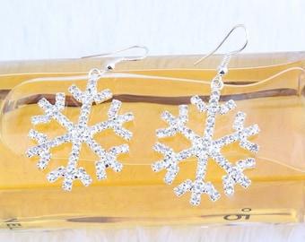 Handmade Crystal Snowflake Earrings