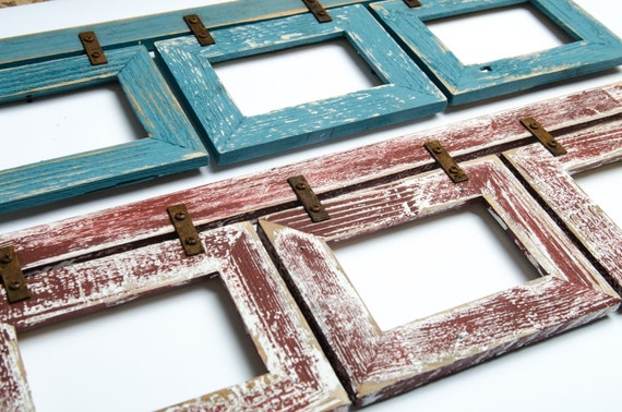 set of 2 barnwood collage rustic frames 3 5x7 multi opening frame reclaimed