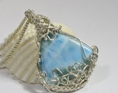 Wire wrapped  Larimar Pendant Sterling Silver Handmade Jewelry Natural Larimar Jewelry