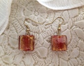 Gold and Red Square Italian Blown Glass Earrings