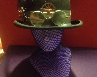 Vintage Bowler/ Derby by a Boston Haberdashery , handcrafted Steampunk Hat