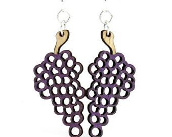 Grapes - Wine - Viticulture - Laser Cut Earrings from Reforested Wood