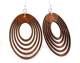 Ovals Offset - Wood Earrings