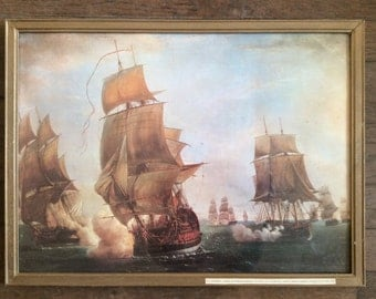 Vintage French war ship galleon frigate man of war sailing boat print in wooden frame circa 1960-70's / English Shop