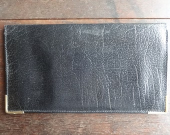 Vintage English Large Calf Leather Mans Cheque Book Credit Card Wallet Black circa 1980's / English Shop