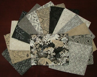 Black Tie Affair Fat Quarter Bundle of 14 with Black Main Print by BasicGray for Moda