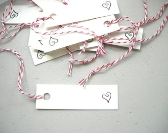 Donation Item Deco Heart Gift Tags - Hand Stamped Set of 25 / Small DIY Valentine's Day Hang Tag Labels, Charity Gift Upcycled Paper Goods