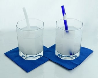 Polar Bear Drinking Buddy Glass Straw Gift Set- 2 Straws- Free Cleaning Brush and Gift Wrap- Polar Bear Cocktail Drink Recipe Card
