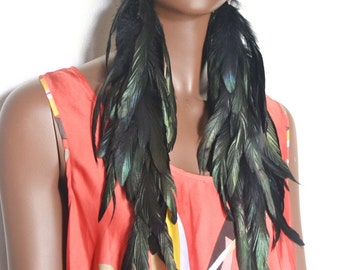 Long Black Feathers, Very Big Feather Earrings, Extra Long Earrings, Real Feather Earrings