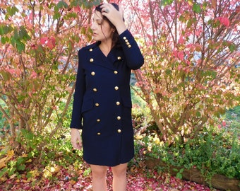 Vintage Womens Ralph Lauren Military Style Double Breasted Long Navy Pea Coat Spring Jacket XS Or Small