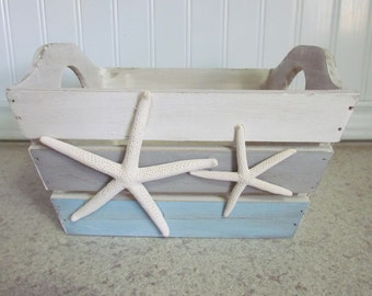 Coastal Wood Basket with Starfish