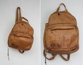 Vintage Distressed Leather Backpack Purse