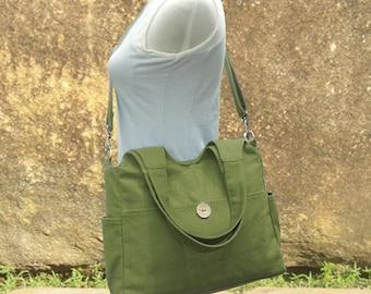 Grass green tote bag, messenger bag for women, canvas diaper bag, travel bag