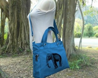Blue canvas messenger bag / shoulder bag / laptop bag / brief case / diaper bag / tote bag / travael bag