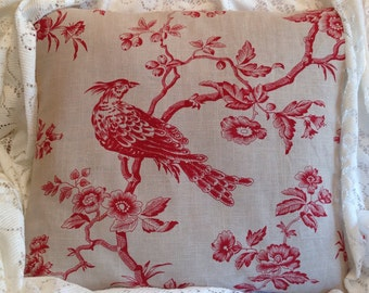 Red Toile pillow cover with birds linen and red