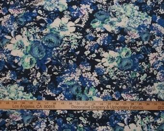 Romantic Blue Roses Bouquet Cotton Lycra Knit FAbric