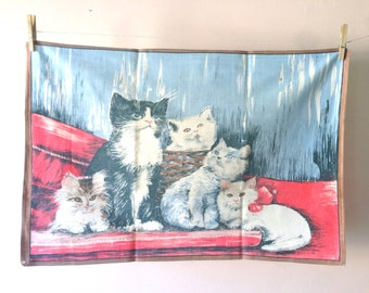 Vintage French Kitten Tea Towel