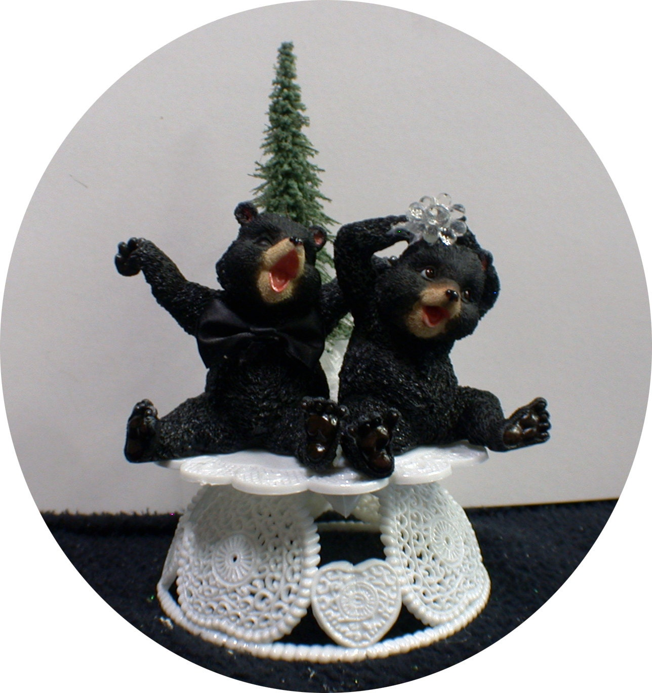 Bears Nature cubs Tree Wedding Cake Topper groom top Funny