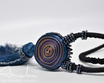 Textile necklace brown, pendant blue brown, long necklace - Textile jewelry OOAK ready to ship