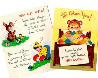 2 Vintage Get Well Cards - Vintage Mixed Media, Collage, Art Journal, Scrapbookng, Nursery Decor, Craft Supplies
