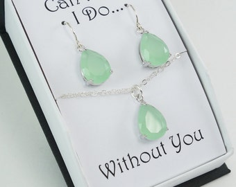 Bridesmaid Gift Set Green Blue Teardrop CZ Earring and Necklace Set Wedding Jewelry Bridal Earrings Necklace Silver Wedding Bridesmaid W