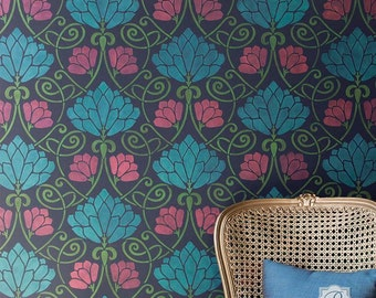 Lotus Flower Art Nouveau Wallpaper Patterns Painted with Large Floral Wall Stencil