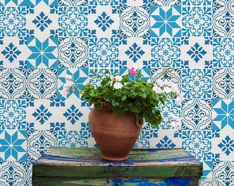 Mediterranean Tile Stencil Set - Paint Faux Tiles on Painted Floor or Wall Mural - Similar to Spanish European Style Tile Wall Decals