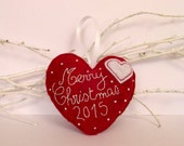 Merry Christmas 2015 hanging Heart felt tree ornament - ready to ship - Holidays decoration - heart in a heart - Christmas tree ornament