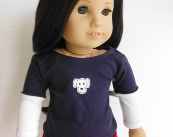 18 inch doll clothes, Fits American Girl, Layered t-shirt, Graphic T