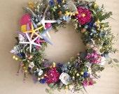 Spring Wreath-Beach Wreath-Beachy Wreath-Annie Gray-Starfish Wreath-Beach Wedding-Oversize Wreath-Floral Beach Wreath-Vow Renewal Wreath-Sea