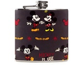 Mickey and Minnie Mouse Flask, Disney Wedding Gift, Womens Mens Flask, Stainless Steel 6oz Hip Flask