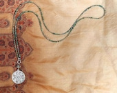 Extra Long Necklace with Pyrite and Sterling Silver Cross Pendant, Y Necklace, Autumn, Layering Jewelry
