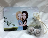 SnowWhite & RoseRed BFF set of 2 charms and 2 postcards
