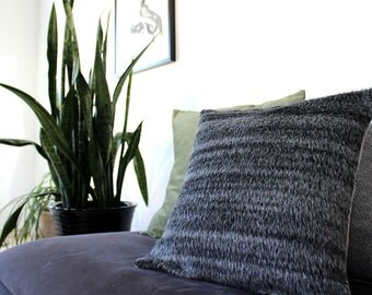 Gray pillow, dark gray fur pillow, charcoal gray accent pillow, modern fur textured throw pillow cover in luxury silk alpaca mix
