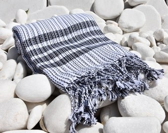 Turkishtowel-Soft-Hand woven,warp&weft cotton Bath,Beach Towel-net working draft weave pattern,weft colors-White and black stripes