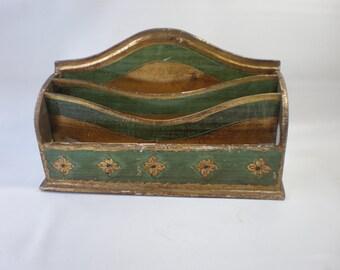Vintage Florentine Green and Gold Envelope Letter or Paper Holder