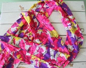 Vintage MOD GIRL Scarf....retro scarf. 1970s accessories. mod. twiggy. head. neck. groovy. disco. gogo. pink. paint. purple. urban. dots