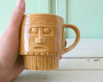 1970s AZTEC Indie Retro Mug...coffee. tea. drink. kitsch. retro housewares. kitchen. collectible. kitsch kitchen. retro. rare. native mug