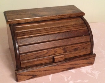 Solid Wooden Vintage Kitchen Bread Box Easy Opening Food Storage Bread Box Has Shelving Above For Decoration. Solid Bread Box!