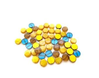 Mixed Color Czech Glass Flat Round Disc Beads /Picasso Czech Glass Coin Beads