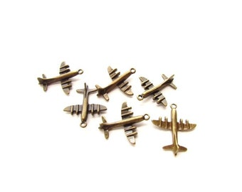 Antique Brass Airplane Charms