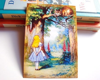 Small Ready to Frame Print - Alice In Wonderland Cheshire Cat Storybook Story Book Vintage Style Home Kids Girls Room Decor